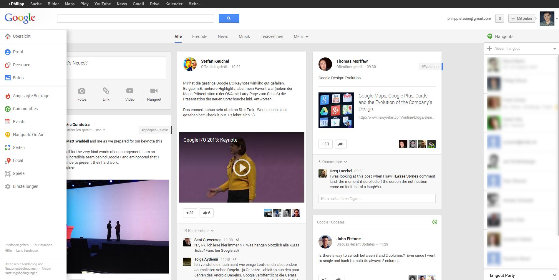 Google+ Neues Design Google I/O