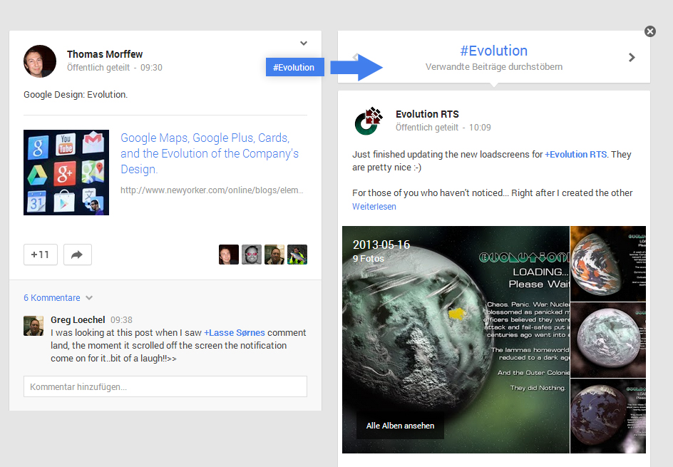 Google+ Neues Design Hashtags